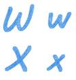 Blue sketch font set - letters W X vector image vector image