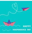 boat and paperplane Happy independence day vector image