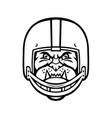 bulldog wearing american football helmet front vector image vector image