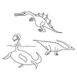 cartoon set 02 of ancient dinosaur monsters vector image