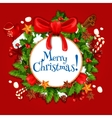 Christmas Day holiday poster with xmas wreath vector image vector image