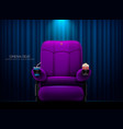 cinema seattheater seat on curtain with spotlight vector image vector image
