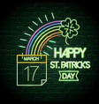 clover with rainbow and calendar neon label vector image