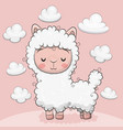 cute alpaca with clouds on a pink background vector image vector image