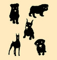 cute dog silhouette vector image vector image