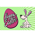 Cute easter card with paper bunny vector image