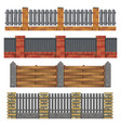 different brick wood fances vector image vector image