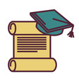 education and knowledge diploma and academic hat vector image vector image