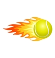 Flaming tennis ball vector image vector image