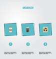 flat icons latte package latte plastic cup and vector image