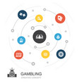 gambling colored circle concept with simple icons vector image