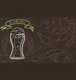glass of beer on the doodle background vector image vector image