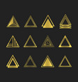 golden art deco and line triangles icons set vector image vector image