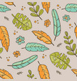 hand drawn leaves grey tropical grunge style seaml vector image vector image