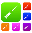 injection syringe set color collection vector image vector image
