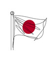 japanese flag continuous line continuous l vector image vector image