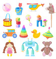 kids toys icons set color toy for baboy vector image vector image