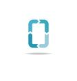 letter o logo vicious cycle blue arrows vector image vector image