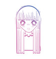 line beauty anime girl with hairstyle and blouse vector image vector image
