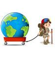 little girl pulling big earth on wagon vector image vector image