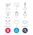 Love heart gift box and wedding ring icons vector image vector image