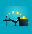 man relaxing while receiving money transfer from vector image vector image
