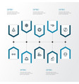 meditation icons line style set with ornament vector image