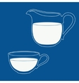 Pitcher and cup filled with milk vector image vector image