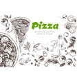 pizza line banner engraved style doodle vector image