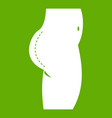plastic surgery of buttocks icon green vector image vector image