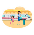 refugees mother and daughter at railway station vector image