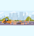 roadworks in city steamroller in front a vector image