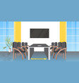 round table meeting room with signs for social vector image vector image