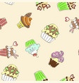 seamless pattern with colorful cupcakes vector image