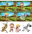 set animal at park vector image vector image