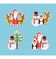 set figures happy merry christmas card vector image vector image