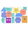 set geometric shapes with kawaii emotions vector image