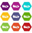 shoe icon set color hexahedron vector image vector image