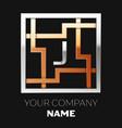 silver letter j logo in silver-golden square maze vector image