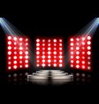 stage podium with spotlights on dark background vector image