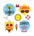 Summer season stickers decoration icons