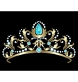 Tiara with diamonds and aquamarines vector image vector image