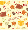 turkey and pumpkin thanksgiving pattern vector image vector image