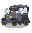 virtual reality old cartoon car in side garage vector image vector image