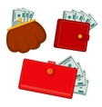 Wallet with money green dollars earnings vector image