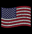 waving american flag stylization of ammo bullet vector image