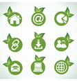 Web icons and design with green leaf vector image vector image