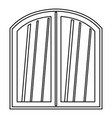 white window arched frame icon outline vector image vector image