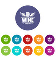 wine barrel icons set color vector image vector image