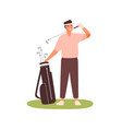 young man in cap visor holding golf club case vector image vector image